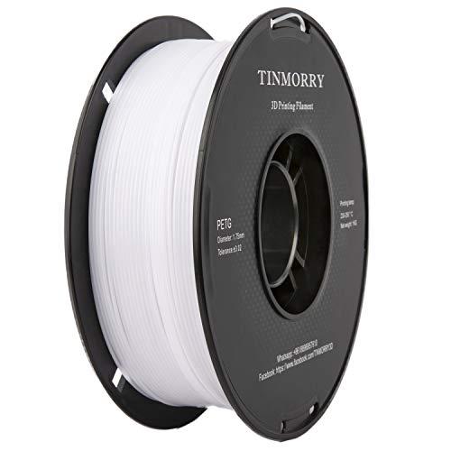 Filamento PETG 1.75mm 1kg, Filamento para impresora 3D TINMORRY PETG Tangle-Free 3D Printing Materials, 1 Spool, White