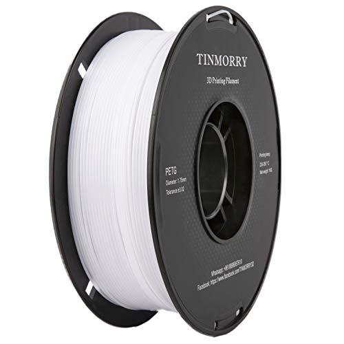 PETG Filament 1,75 Weiß, TINMORRY Filament PETG 1,75mm für FDM 3D Drucker, 3D Druckmaterialien 1 kg 1 Spule