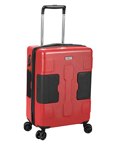 TACH V3 Hardcase Connectable Carry-on Luggage | Rolling Suitcase with Patented Built-In Connecting System | Easily Link & Carry 9 Bags At Once (wine red)