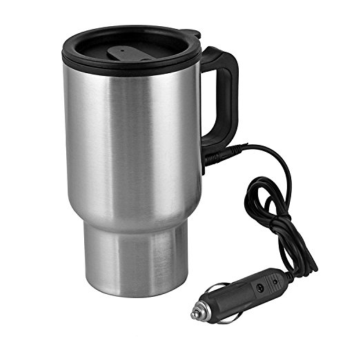 12V Car Heating Cup Car Heated Mug, 450ml Stainless Steel Travel Electric Coffee Cup Insulated Heated Thermos Mug