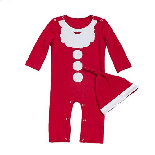 DecStore Bébés Filles Garçons 2pcs Noël Costume Père Noël Footies Romper Pyjama Grenouillère avec Chapeau(Red 66cm)
