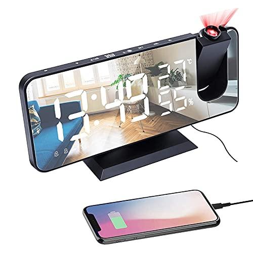 Ciuitixi Projection Alarm Clock with FM Radio, 7.3 LED Mirror Screen Big...