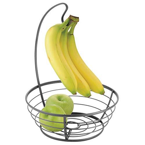 mDesign Cesta de frutas moderna con gancho para colgar plátanos – Frutera grande para la mesa del comedor o la encimera – Frutero de cocina decorativo de metal – gris