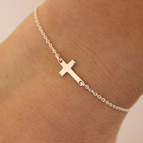 Yienate Pulsera Boho con cadena de mano pequeña cruz para mujeres y niñas (oro)
