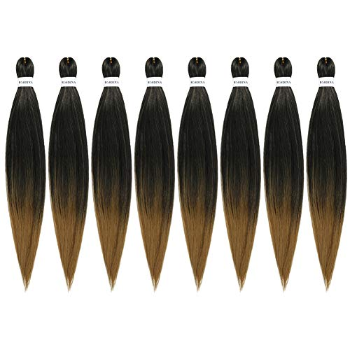 """Pre-Stretched Braiding Hair Omber 26""""-8 Packs Long Itch Free Hot Water Setting Synthetic Fiber Crochet Braiding Hair Extension (26"""", T27)"""