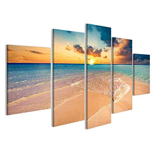 Quadri moderni Spiaggia tropicale con sabbia bianca e mare turchese chiaro. ins Maldive Stampa su tela - Quadro x poltrone salotto cucina mobili ufficio casa - fotografica formato XXL DVX