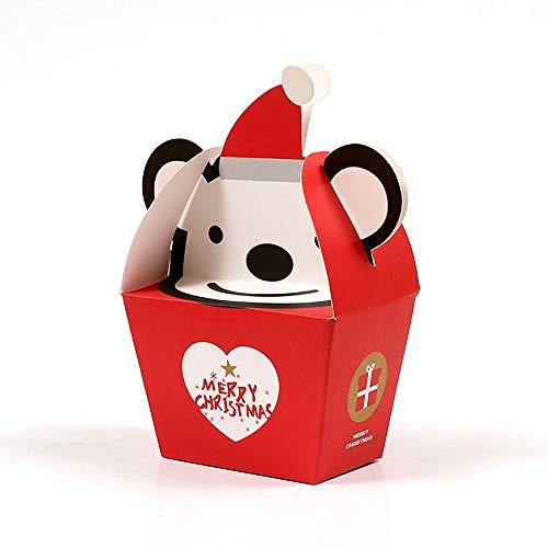 HTSHOP 50Pcs Petit Noël Coffrets Cadeaux for Faveurs, Creative Packaging Bonbons Boîte de Papier, de Cuisson Petit Sucre Boîte Plateau, Cartoon Singe Forme Sac Cadeau for Les Enfants (Color : Red)