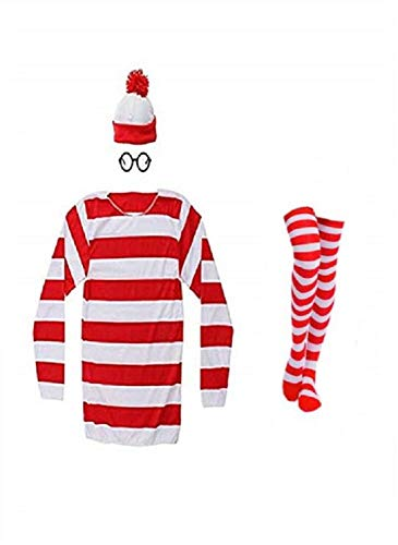 THYLL Cos Halloween Cosplay Shirts Costume, Red and White Striped Shirt, Funny Sweatshirt, Glasses Hat Suits, Adult Female, XXX-Large
