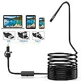 Lightswim Endoscope 3 en 1 USB/Micro USB/Type-C 1200P Cámara de inspección 2.0 megapíxeles HD Boroscopio Impermeable...