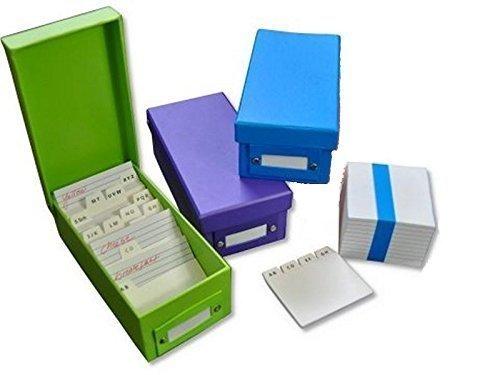 3x Lernbox Karteikasten DIN A8 / 3 verschiedene Farben + 1200 Karteikarten