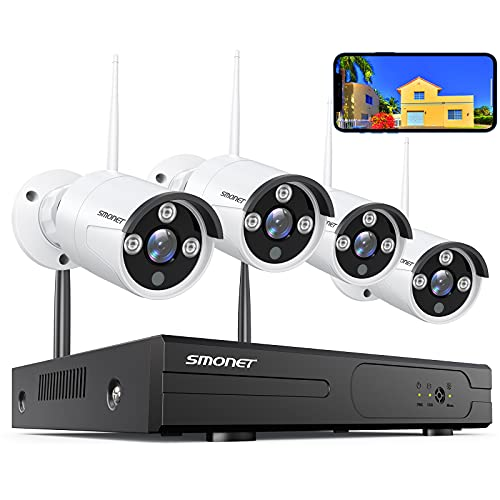 2021 SMONET Wireless Security Camera Systems,8-Channel 3MP Surveillance NVR Kits,4pcs 1296P(3.0 Megapixel) Indoor Outdoor WiFi IP Cameras,Night Vision Home Cameras,P2P,Free APP,NO Hard Drive