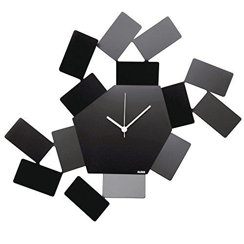Alessi La Stanza dello Scirocco MT19 B  Design Wanduhr, Edelstahl und Epoxidharz, schwarz