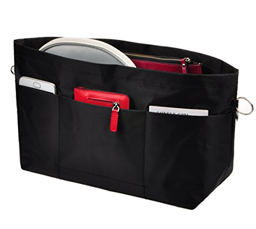 Vercord Handbag Purse Tote Pocketbook Organizer Insert Zipper Closure 11 Pockets, Black L