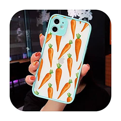 Caricatura linda zanahoria Teléfono Carcasas mate transparente para iphone 7 8 11 12 más mini x xs xr pro max cover-a4-iPhone12pro