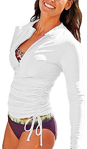 yeesam Mujer UV Protección Ropa Traje Bañador Ropa de baño agua deportes traje Tops Manga Larga–bescheiden Kiama– Weiß Asia XS ~ Altura: 158-170 cm