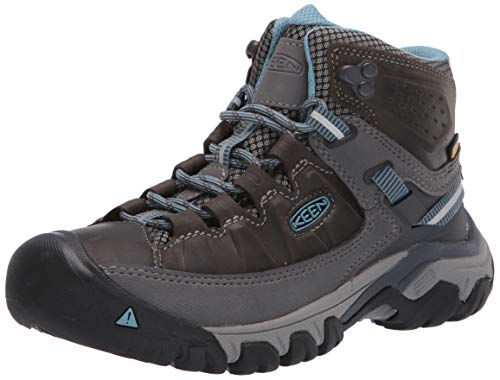 KEEN Women's Targhee 3 Mid Waterproof Hiking Boot, Magnet/Atlantic Blue, 10 M (Medium) US