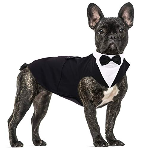 Dog Formal Tuxedo Suit for Medium Large Dogs,Dog Tuxedo Costume Wedding Party Outfit with Detachable Collar,Elegant Dog Apparel Bowtie Shirt and Bandana Set for Dress-up Cosplay Holiday Wear