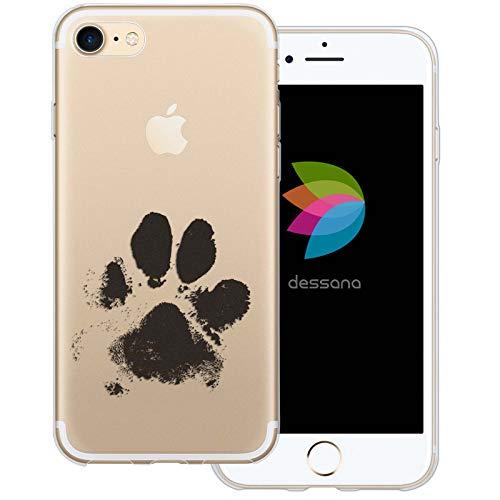 dessana Tier Pfoten Abdrücke durchsichtige Silikon TPU Schutzhülle 0,7mm dünne Handy Tasche Soft Hülle für Apple iPhone 7 H&e Tatze