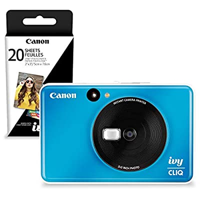 Canon Ivy CLIQ Instant Camera Printer (Seaside Blue) + 30 Sheets Photo Paper (USA Warranty) by PS