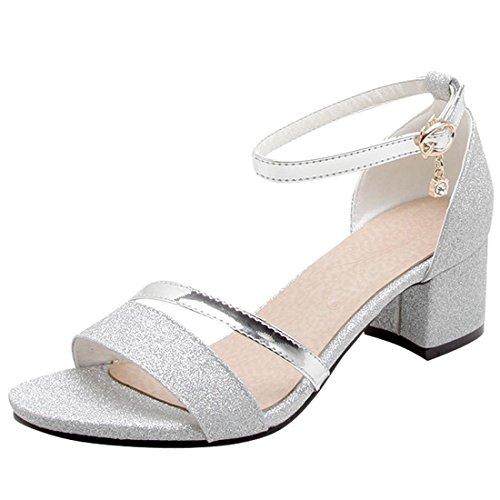 Artfaerie Damen Open Toe Riemchen Sandaletten mit Pailletten und Schnalle Blockabsatz Glitzer Pumps Bequem Schuhe