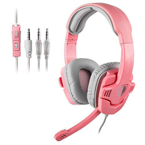 SADES Gaming Headset Headphones for PC/PS4/Laptop/Xbox 360 with Microphone SA708GTPink