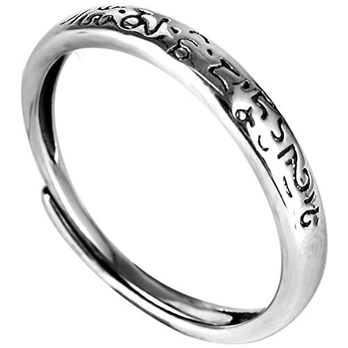 MingXinJia Anillo de plata de ley con dedo abierto S925 de plata de ley, anillo de plata simple para hombres y mujeres, regalo retro para amantes como se muestra, apertura ajustable
