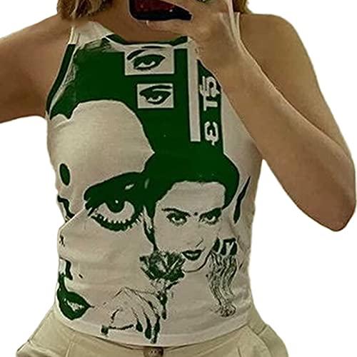 N/A/A Damen-Kleider, ärmellos, mit Gesichtsdruck, Weste, Sommer, Rundhalsausschnitt, kurz, schmale Passform