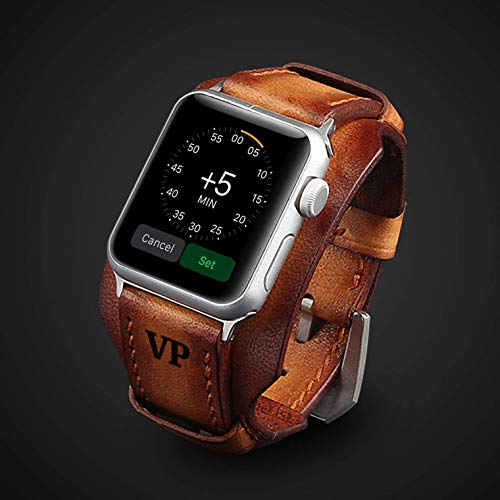 Luxury Apple Watch Strap Hand stitched vintage genuine leather Apple Watch Band 38mm 40mm 42mm 44mm iwatch band strap Mens Boyfriend Husband Gift Series 5 4 3 2 1 Personalised Engraved Premium Gift
