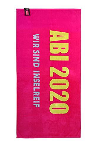 jilda-tex Abistrandtuch 90x180 cm Abihandtuch Strandtuch Strandtuch Abi 2020 Abitur (Wir sind inselreif pink)