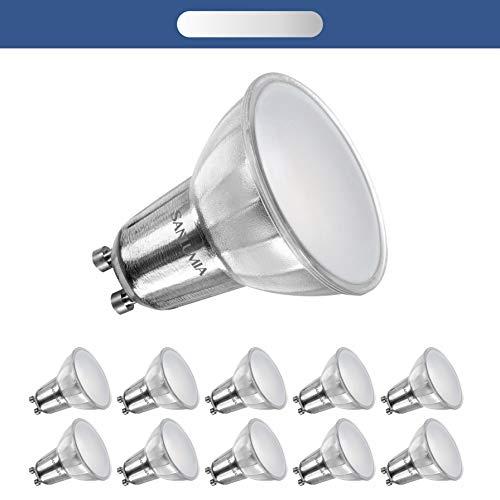 Sanlumia Bombillas LED GU10, Regulable, 7W = 75W Halógena, 520Lm, Blanco Neutro (4000K), 100 ° ángulo de haz, Iluminación de Techo para Cocina, Oficina, o Baño, Paquete de 10