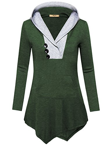 Miusey Boutique Clothing for Women, Ladies Plus Size Causal Business Soft Surrouding Tops Asymmetrical Tunic Hoodie Cover-up Regular Semi-Formal Feminine Long Sleeve Patchwork T Shirt Dark Green XXL