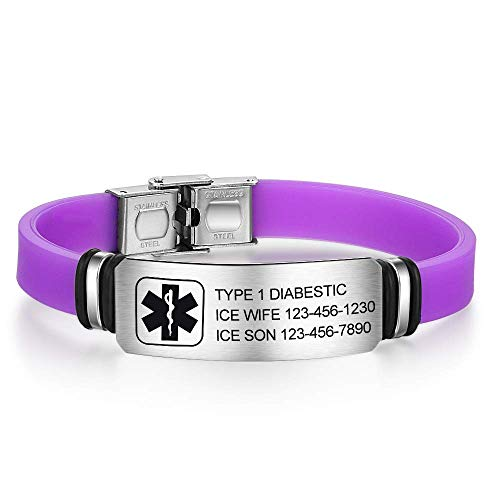Personalised Medic Alert Bracelet for Women - Silicone Stainless Steel Band Emergency Medical Alert Mens Bracelets -Official ID Wristband with Medical Alert Badge - Customised Engrave Text