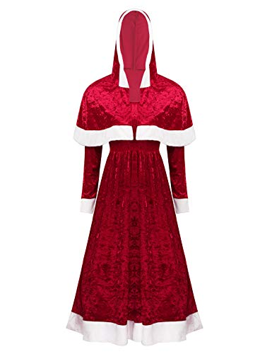 ACSUSS Women's Mrs Claus Santa Christmas Cosplay Halloween Costumes Long Dress with Hooded Cloak Red XX-Large