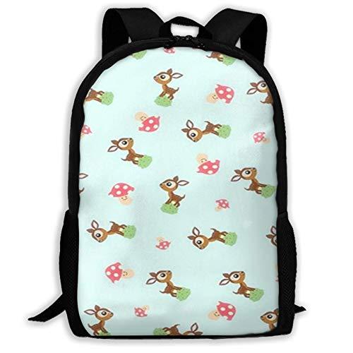 Bonita mochila de viaje para adultos con animación de dibujos animados de cervatillo, se adapta a mochilas para portátiles de 15,6 pulgadas, mochila escolar, mochila informal para hombres y mu