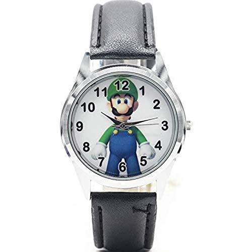 buyaoku Reloj de Audio y Video Estilo Vendedor Caliente Moda Casual Dibujos Animados Mario Reloj Escuela Primaria Reloj Correa Reloj de Cuarzo