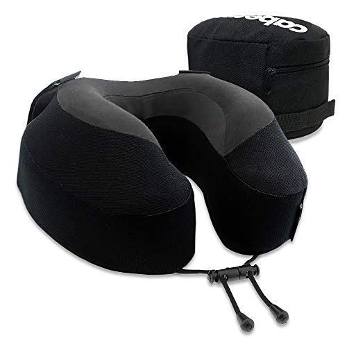 Cabeau Evolution S3 Travel Pillow – Straps to Airplane Seat – Ensures Your Head Won't Fall Forward – Relax with Plush Memory Foam – Quick-Dry Fabric Keeps You Cool and Dry (Jet Black)…