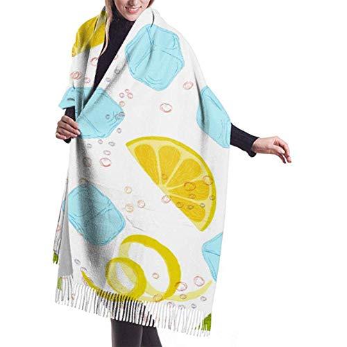 H.D. Womens Winter Schal Cashmere Feel Pattern Limonade Kohlensäurehaltige Wasser Zitronenscheiben Schals Schal Wraps Weiche Warme Decke Schals Für Frauen