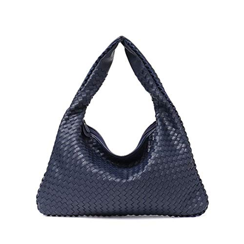 Leather Bag Handmade Woven Casual Female Handbag Big Capacity Patchwork Zipper Women Shoulder Bags (Color : Navy S)