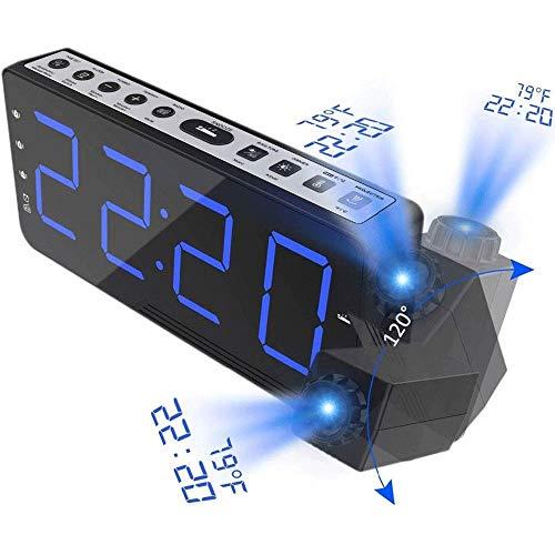 WCJ Digitale wekker, digitale projectie, FM-radio, wekker, snooze-timer-temperatuur, led-display, USB-oplaadkabel, draaibaar, 110 graden tafel wand