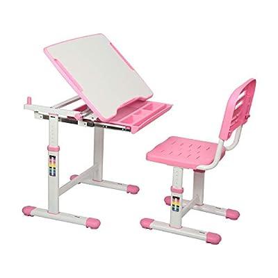 Diroan Kids Multifunctional Desk and Chair Set, Height Adjustable Children School Study Desk with Tilt Desktop, Metal Hook and Storage Drawer for Boys Girls (Pink)
