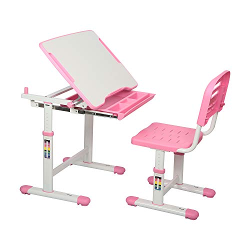 Diroan Kids Multifunctional Desk and Chair Set, Height Adjustable Children School Study Desk with Tilt Desktop, Metal Hook and Storage Drawer for Boys...