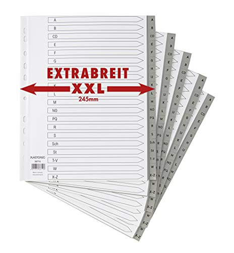 5er Set XXL 20-teiliges Register/Trennblätter extra breit aus PP DIN A4+ mit Buchstaben A-Z, volldeckend + praktischem Deckblatt aus Papier. Trenn-Blätter überbreit für die Ordner-Organisation im Büro