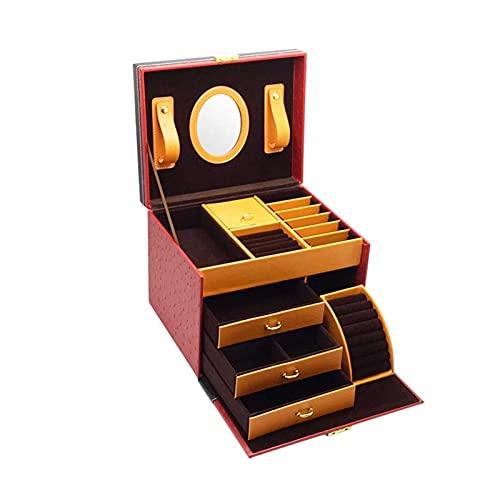 Adesign Organizador de caja de joyería para pendientes de collar Anillos de pulseras, tres capas apilables, bandeja de eliminación, caja de almacenamiento de joyas con compartimento removible, para mu