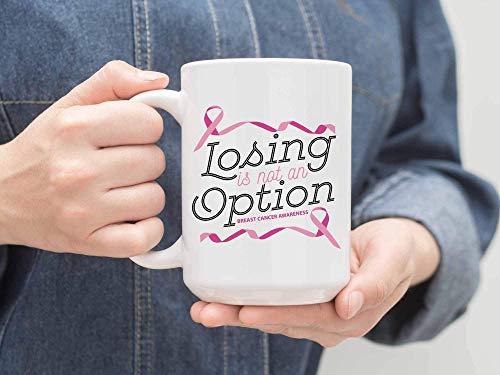 N\A Taza de té, Perder no es una opción Productos de mercadería concientización sobre el cáncer de Mama Ideas de Regalos con Cinta Rosa Taza de café de cerámica Blanca Taza Grande