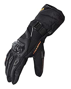 kemimoto Winter Motorcycle Gloves Rainproof Riding Gloves with Touchscreen Motorcycle Winter Gloves for Men Warm Motorcycle Gloves for Riding ATV UTV Snowmobile - Black Large