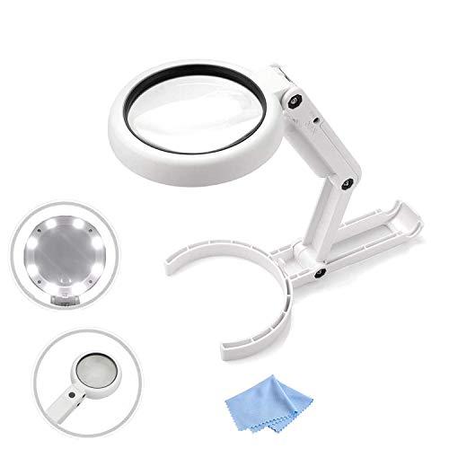 RIGHTWELL 5X Lupenbrille mit Licht - Handheld-Lupe, Desktop-Lupen with 8 LED für Senioren lesen, Hobby, Handwerk, Computer Reparatur und Schmuck Lupe Schwarz