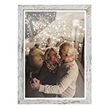 Capcillin 12x18 Picture Frame Wood Pattern Distressed White Poster Frame Set of 1, Wall Mounting,Plexiglass,Great for Prints, Mural,and Art(CP003-MD12x18-RW)