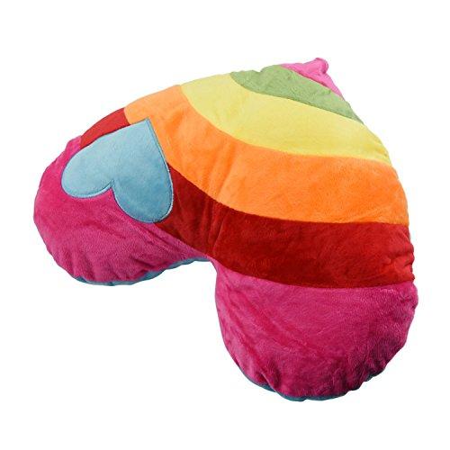 SODIAL Cojin de Peluche Relleno Suave Encantador Almohada del Corazon del Amor de Arco Iris de Siesta Juguetes Corazon