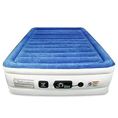 SoundAsleep Products SoundAsleep CloudNine Series Queen Air Mattress with Dual Smart Pump Technology by (Blue Top/Beige Body, Queen)