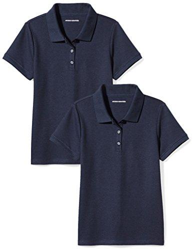 Amazon Essentials Girl's Uniform Interlock Polo, Navy/Navy, L (10)